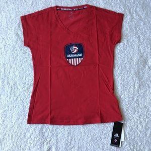 Women's Adidas USA Volleyball V Neck Shirt Small